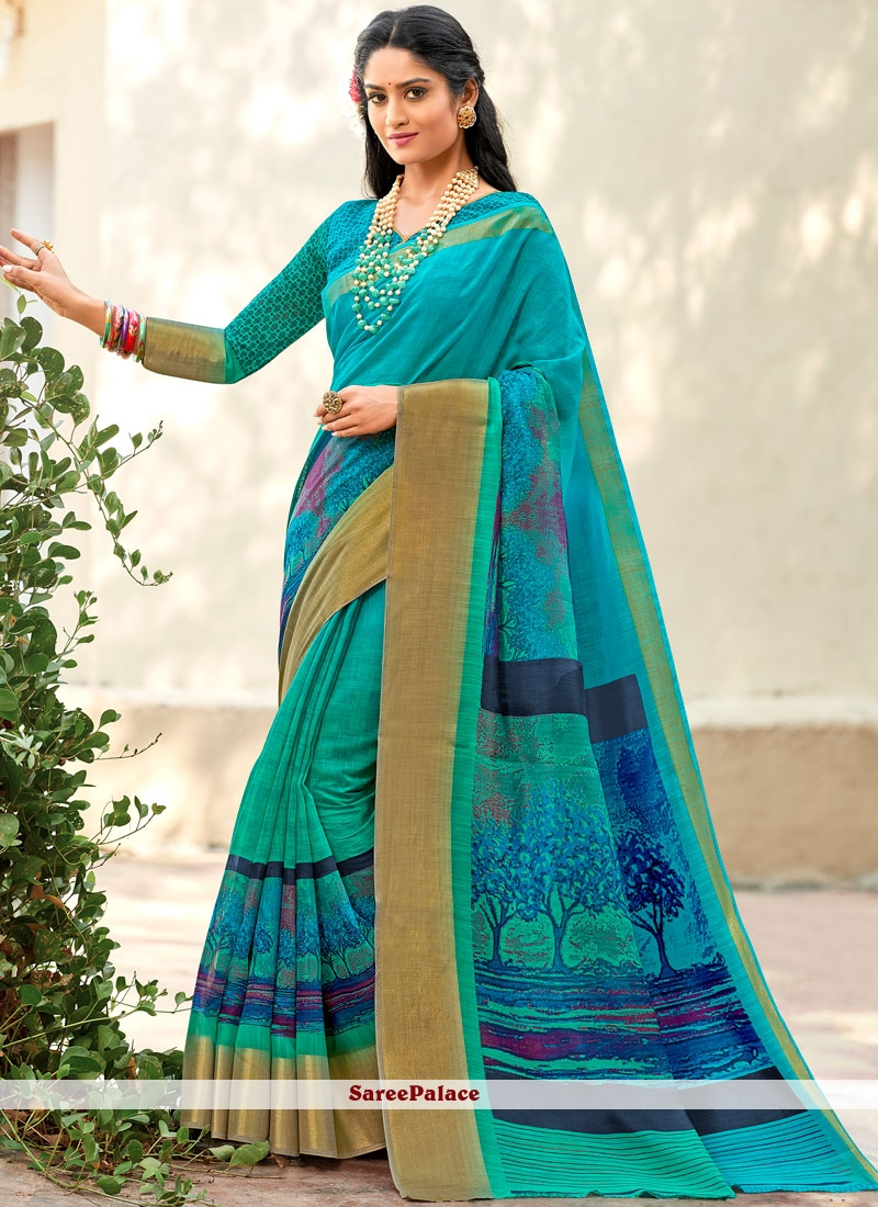 Printed Saree Abstract Print Cotton Silk in Blue