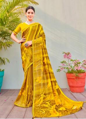 Abstract Printed Saree Cotton Silk in Multi Colour