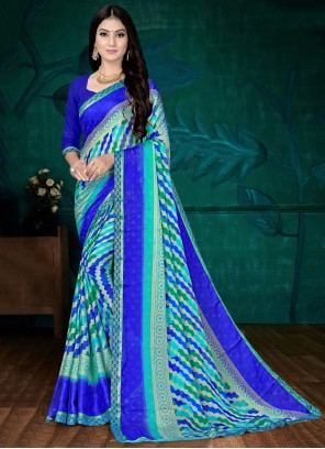 Abstract Printed Faux Chiffon Saree in Blue