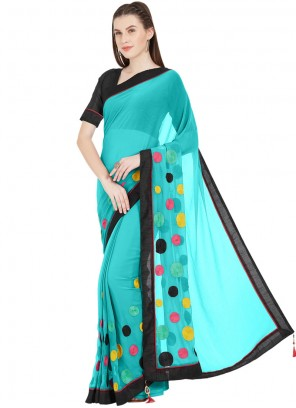 Printed Saree Abstract Print Faux Chiffon in Turquoise