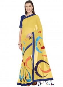 Yellow Faux Chiffon Printed Saree For Casual