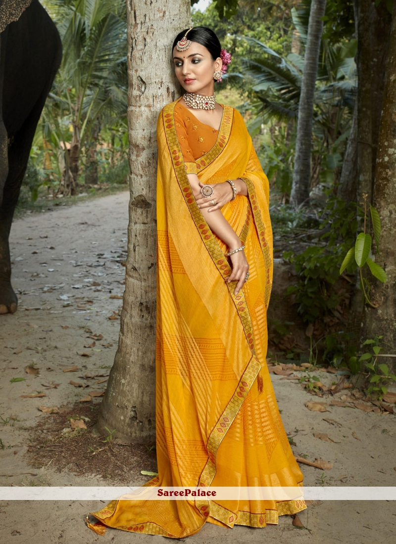 Printed Saree Abstract Print Faux Chiffon in Yellow