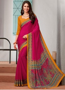 Saree Abstract Print Faux Crepe in Hot Pink