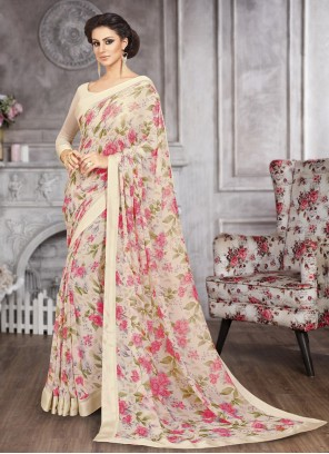Printed Saree Abstract Faux Georgette in Multi Colour
