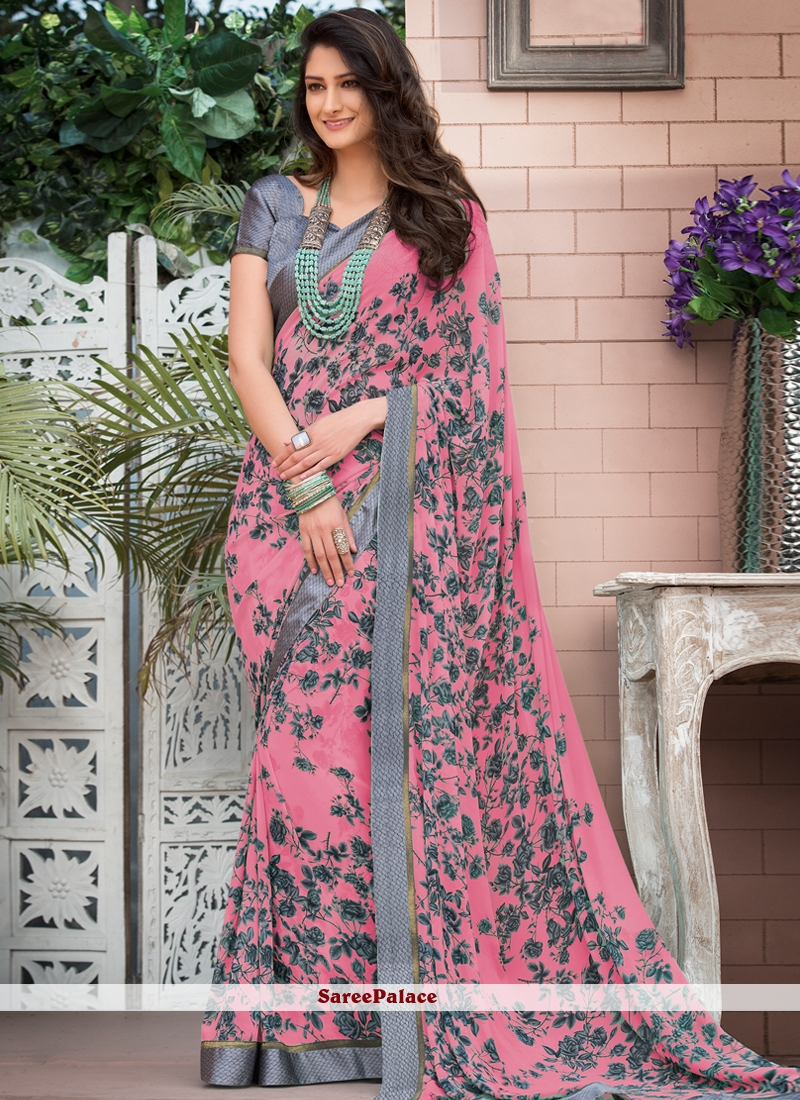 Printed Saree Abstract Print Faux Georgette in Pink