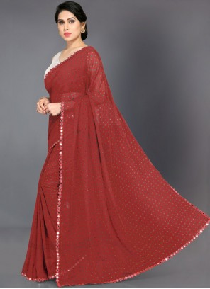 Saree Abstract Print Faux Georgette in Red
