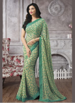 Printed Saree Abstract Faux Georgette in Sea Green