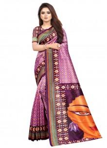 Printed Saree Abstract Raw Silk in Purple