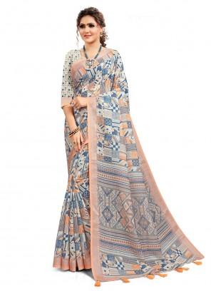 Printed Saree Linen Cotton in Multi Colour