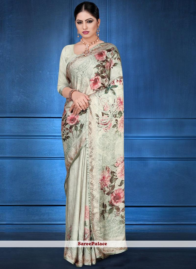 Printed Saree Digital Print Georgette Satin in Multi Colour