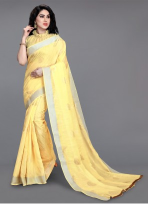 Printed Saree Foil Print Cotton in Yellow