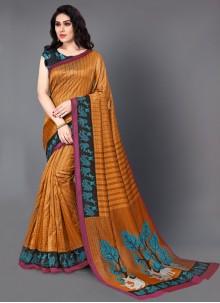 Printed Orange Saree For Casual