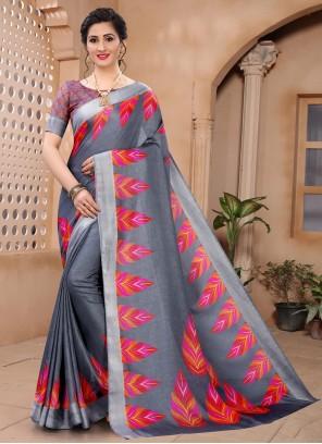 Grey Printed Saree For Casual