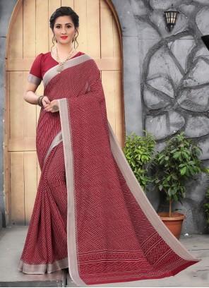 Maroon Printed Saree For Casual