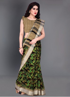 Printed Green Saree For Casual