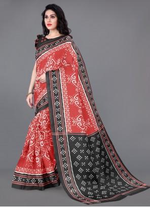 Multi Colour Printed Saree For Casual