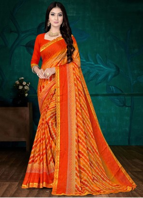 Orange Abstract Printed Faux Chiffon Saree For Casual