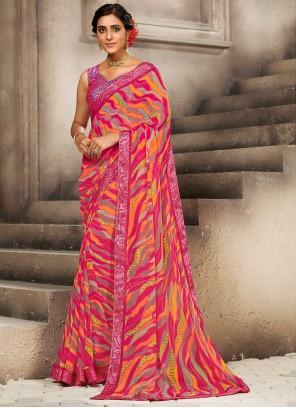 Multi Colour Faux Georgette Printed Saree For Casual