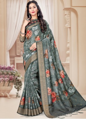 Multi Colour Printed Saree For Ceremonial