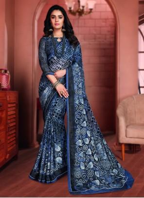 Blue Printed Saree For Ceremonial