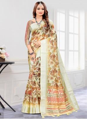 Cream Cotton Printed Saree For Engagement