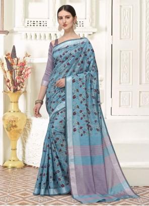 Blue Printed Saree For Festival