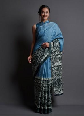 Printed Blue Saree For Festival