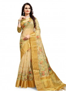 Green Printed Saree For Festival