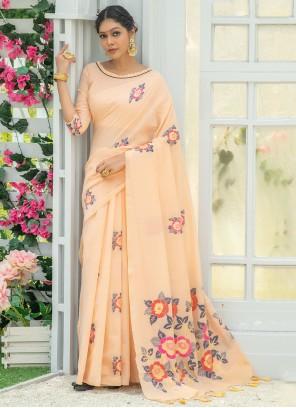 Peach Linen Printed Saree For Festival