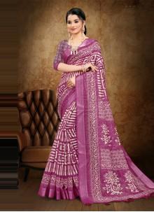 Magenta Cotton Printed Saree For Festival