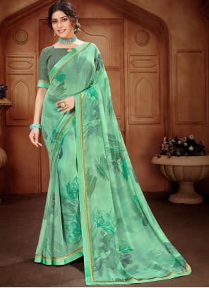 Sea Green Printed Saree For Festival
