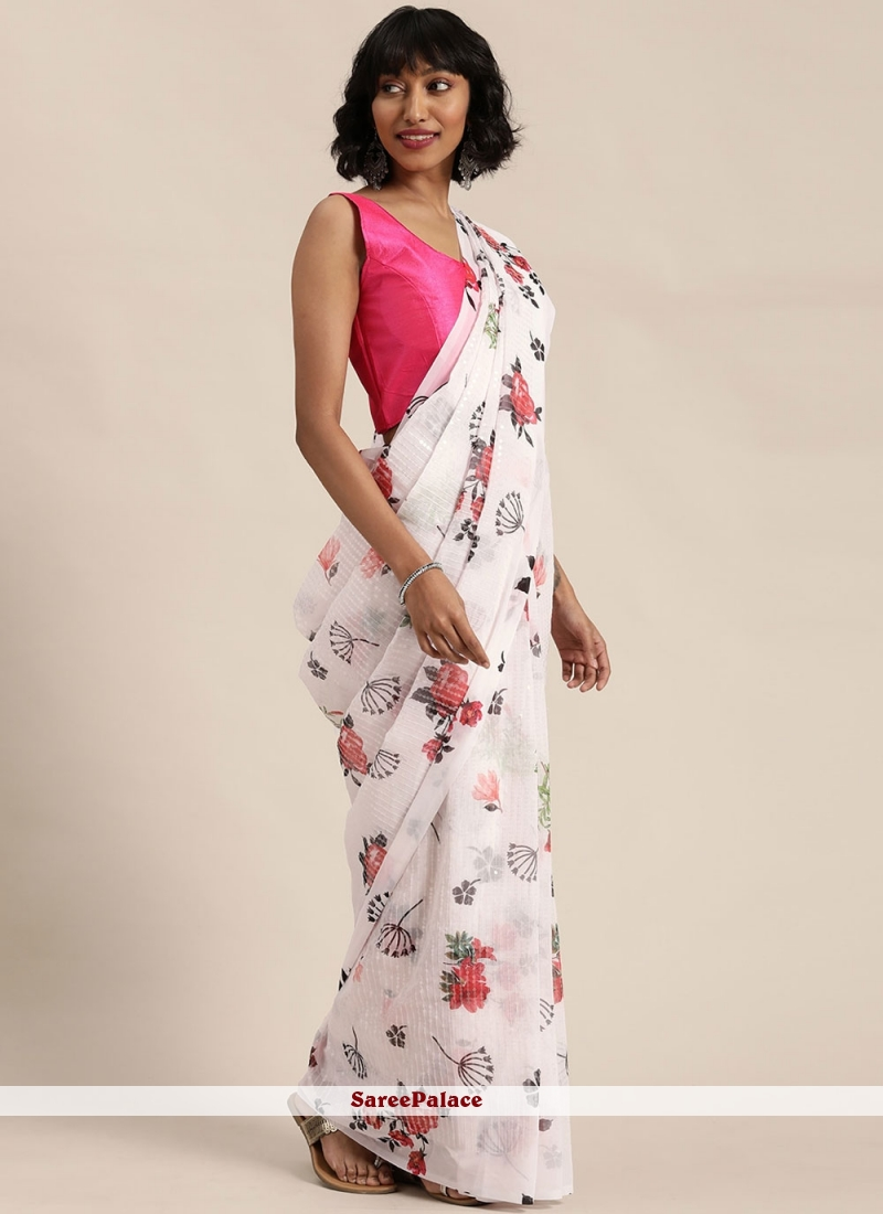 Off White Printed Saree For Festival