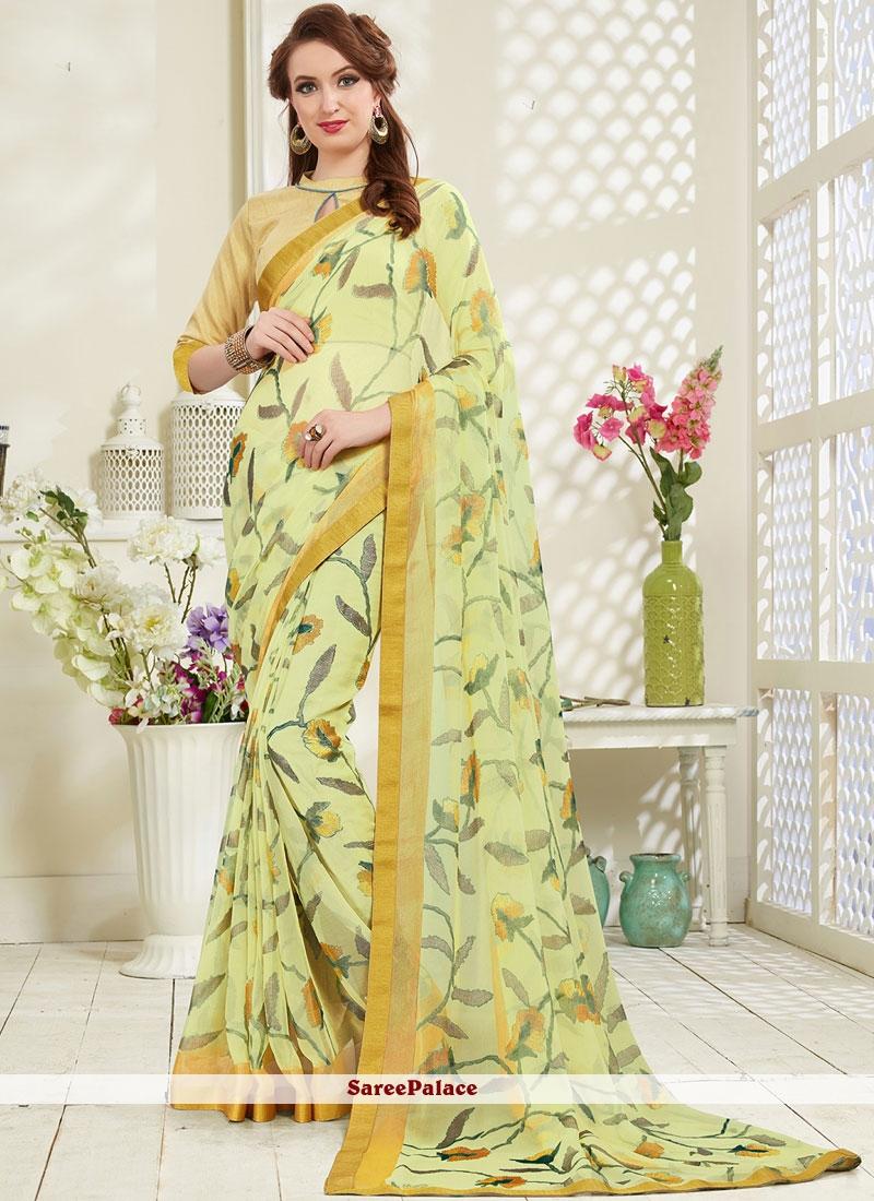 Multi Colour Brasso Printed Saree For Festival