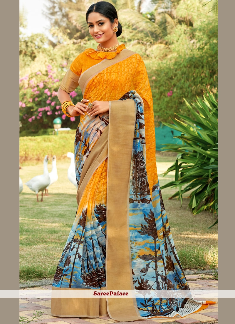 Multi Colour Printed Saree For Party