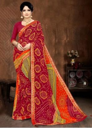 Printed Saree Lace Faux Georgette in Multi Colour