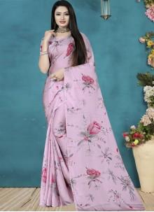 Printed Saree Print Satin Silk in Pink