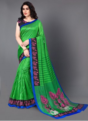 Printed Saree Art Silk in Green