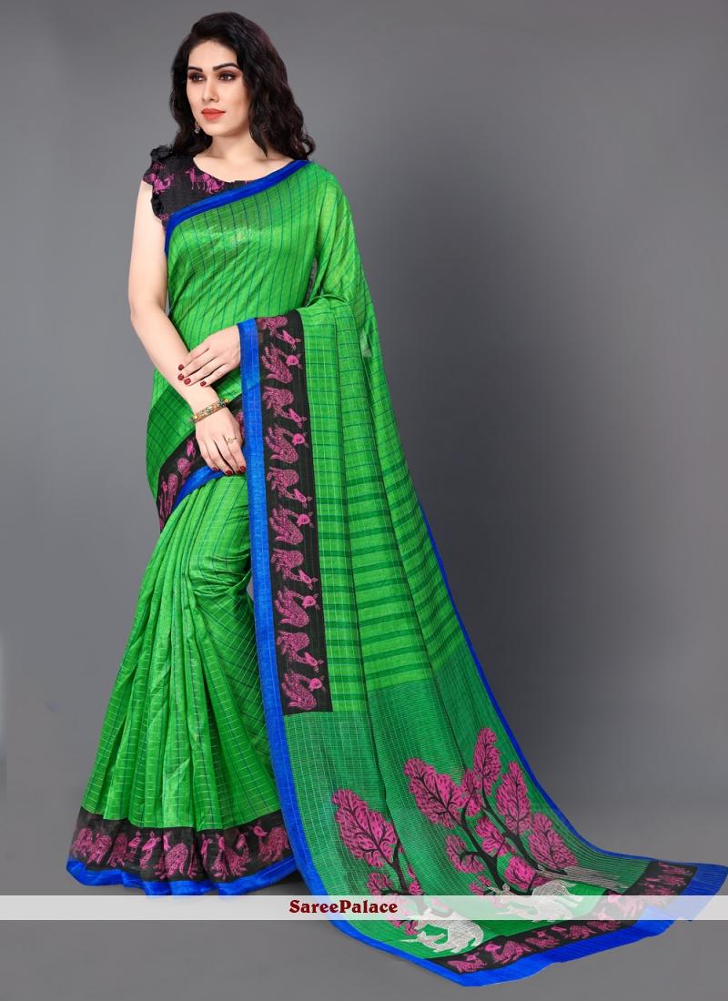 Printed Saree Art Silk in Green