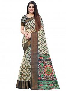 Printed Saree Cotton in Black