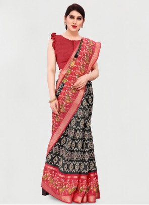 Printed Saree Cotton in Black and Red