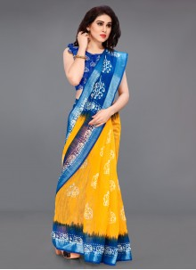 Printed Saree Cotton in Blue and Yellow