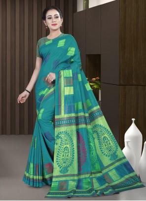 Printed Saree Cotton in Rama