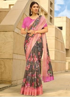 Printed Saree Linen in Multi Colour