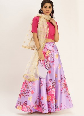 Printed Satin Silk Bollywood Lehenga Choli in Purple