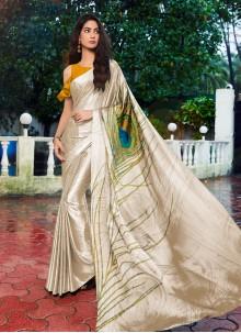 Printed Satin Silk Cream Casual Saree