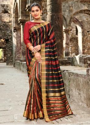Printed Silk Black Designer Saree