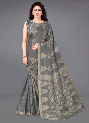 Grey Printed Silk Casual Saree