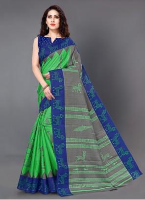 Printed Silk Casual Saree in Green