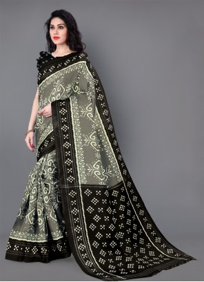 Printed Silk Casual Saree in Grey