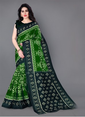 Printed Silk Green Casual Saree